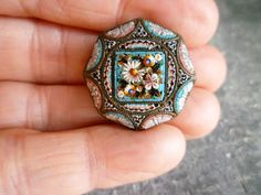 Super Tiny Pieces Small Micro Mosaic Brooch Pin w Tons of Detail Victorian | eBay