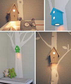 turn bird house into a night light, use and LED dimmable to reduce heat. Paint it to be owl's house