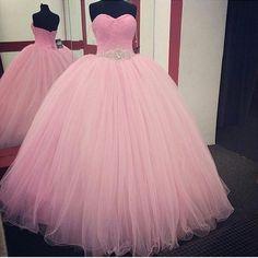 Barato Rosa vestido de baile vestidos Quinceanera 2016 frisada vestidos de 15…
