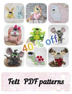 Felt Toys, Sewing Patterns, Gifts For Someone Special by FeltyPretty Felt Patterns, Pdf Patterns, Sewing Toys, Felt Toys, Stuffed Animals, Sewing Tutorials, Mobiles, Hand Sewing, Etsy Seller