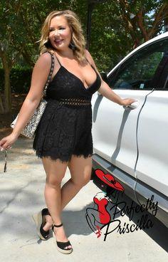 Black Romper Outfit, Black Lace Romper, Curvy Outfits, Classy Outfits, Sexy Outfits, Curvy Women Fashion, Plus Size Fashion, Pernas Sexy, Curvy Plus Size