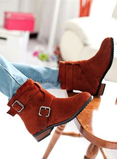 Chic Brown Buckle Design Ankle Boots