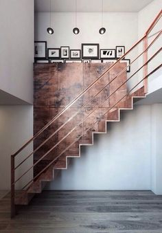 Copper staircase and feature wall
