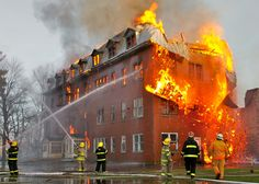 fire fighters   firefighters at a major fire involving an abandoned convent in canada ...