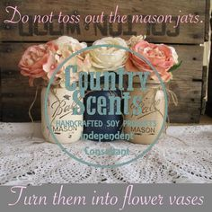 One of the many great things about CSC is that you can repurpose the jars after you are done with the candles! Soy Candles, Scented Candles, Candle Jars, Mason Jars, Country Scents Candles, Candle Making Business, Wax Warmers, Candle Containers, Scentsy