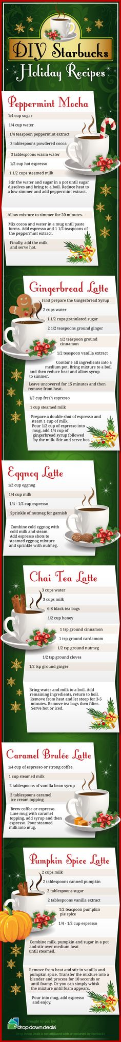 Are you a Starbucks fan? Here are some DIY Starbucks Holiday Recipes to enjoy this season! I love Starbucks but can not justify the pricing except maybe when in an airport! Nice list of recipes though-I am a espresso fan but not a sweetner. Fun Drinks, Yummy Drinks, Beverages, Yummy Food, Tasty, Drinks Alcohol, Holiday Treats, Christmas Treats, Holiday Recipes