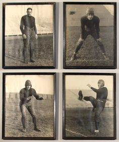 """""""Four Horsemen of Notre Dame"""" large format photographs c.1920s-1930s. Series of (4) sepia toned period images in highly uncommon 16""""x20"""" size, each depicting a member of the fabled quartet. Includes Jim Crowley, Don Miller, Harry Stuhldreher, and Elmer Layden. $1900"""