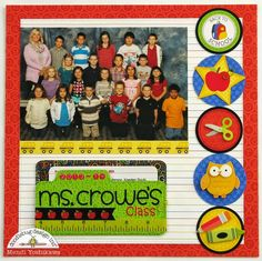 Doodlebug Designs Back To School Scrapbook Layout using Class Photos, pockets & file folders. School Scrapbook Layouts, Kids Scrapbook, Scrapbook Sketches, Scrapbook Supplies, Scrapbooking Layouts, Scrapbook Cards, Picture Scrapbook, Couple Scrapbook, Scrapbook Organization