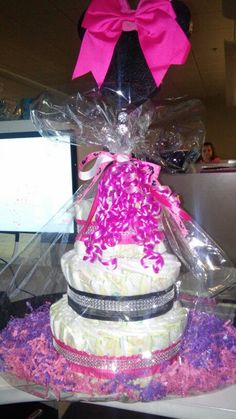 Minnie Mouse 3 Tier Diaper Cake Cost $35.00 includes 80 diapers