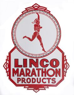 """Linco Marathon Products Sign. Double sided porcelain die cut sign for Linco Marathon Products. This is a truly tough sign to find and this is what we believe is the rarest of three versions for Linco, Marathon and this Linco Marathon Products naming. This sign features the great Greek runner graphics with OhiO border since the brand and company were owned by Ohio Oil Company after the breakup of Standard Oil. Size: 32"""" x 57"""". Sold for $8,190 in 2014."""