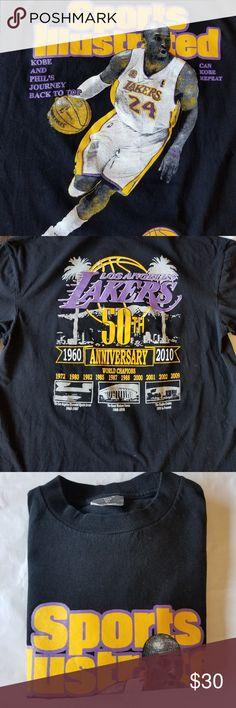 71812a11b Lakers Kobi Bryant Sports illustrated T-Shirt Lakers 50th Anniversary  memorabilia All Nations Apparel Shirts