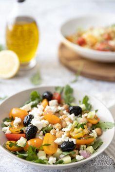 Salade de pois chiches à la grecque - Recette de salade facile