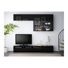 BESTÅ Comb arrum TV/portas vidro - preto-castanho/Selsviken vidro inc preto/brilhante, calha p/gaveta, fecho suave - IKEA
