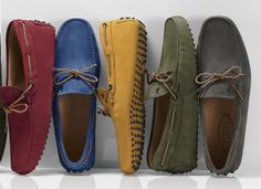 216a468a1ea Tod s nubuck leather  Gommino  moccasins with braided My Colors ties.  Leather Moccasins