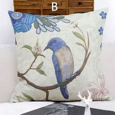 Natural bird throw pillows for home American country style