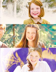 Lucy Pevensie. My other favorite character!! This really amazed me when I saw the change from the first movie to the latest one!