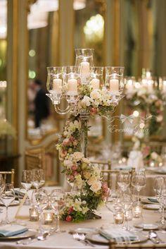 Wonderful Crystal Candelabra Centerpiece  Flowers Torchon  Pink, champagne, Green Wedding