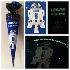Schultüte aus Stoff R2D2, Star Wars. Nachtleuchtender Text, Name oder Datum