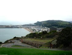 Dover, England, Seaport; as seen from Dover Castle, overlooking the English Channel. Shot taken on a rainy day.