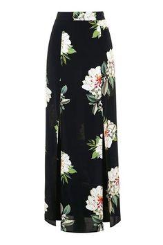Floral Print Split Maxi Skirt