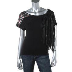 Catherine Malandrino Womens Cashmere Blend Fringe Pullover Sweater