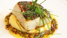 Norwegian Skin Fried Cod, Mashed Potatoes With Garlic & Soy Butter — With garlic almond potatoes and ginger and soy sauce to the butter, gives Norwegian cod new flavor in the recipe from Lise Finckenhagen! Fish Dishes, Seafood Dishes, Fish And Seafood, Main Dishes, Shellfish Recipes, Seafood Recipes, Cod Recipes, Healthy Recipes, Healthy Food