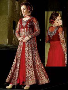 Charming red color ankle length #net #Anarkali with shiny zari, kundan and stone work  Item Code: SLANA101 http://www.bharatplaza.com/new-arrivals/salwar-kameez.html