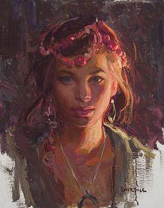 """Eyes for the Future"" model - Morgan, oil, 20"" by 16"" Scott Burdick"
