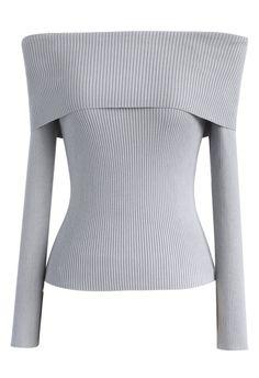 Grace Off-shoulder Cowl Neck Knit Top in Grey 4b7d2d3b711bf