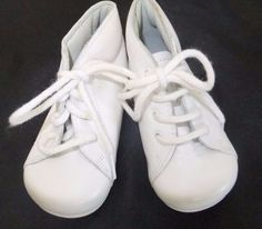 Froment-Leroyer Baby Shoes White Leather Vintage Style Laces French 18 US Sz 3 #FromentLeroyer #WalkingShoes