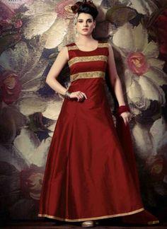 Maroon Embroidery Work Tapeta Silk Net Designer  Long Anarkali Suit http://www.angelnx.com/Salwar-Kameez