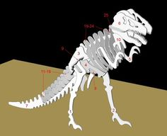 T-Rex skeleton tutorial. Make it out of wood or cardboard. Looks like a good puzzle.