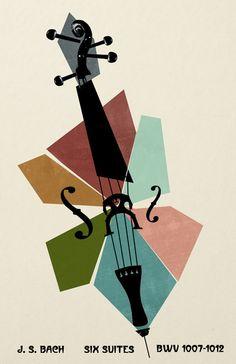 Bach Cello Suites - Poster Print - Classical Music on Etsy, Cello Kunst, Cello Art, Jazz Poster, Plakat Design, Jazz Art, Canvas Prints, Art Prints, Grafik Design, Concert Posters
