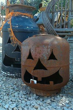 This is perfect for the farm. Old gas can carved with a candle inside; no more moldy melting pumpkins on the porch..=)