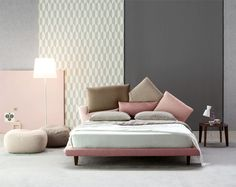 Picabia bed with multicoloured cushions - DIOTTI. Contemporary Bedroom, Modern Bedroom, Contemporary Style, New Yorker Loft, Bedroom Furniture, Furniture Design, Interior Design Trends, Design Ideas, Deco Rose