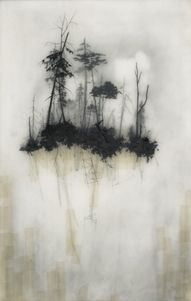 """Held Up"" 2008 x graphite, tape, resin Today I'm admiring the wintry images of Brooks Salzwedel. A graduate of Art Center College of Design, Salzwedel creates his misty images with layers of resin, illustrated with graphite pencils. Drawn Art, Hand Drawn, Kunst Online, Encaustic Painting, Art Abstrait, Art Plastique, Land Scape, Amazing Art, Awesome"
