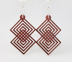 Interlocking Squares - Laser Cut Earring from Reforested Wood. $12.95, via Etsy.
