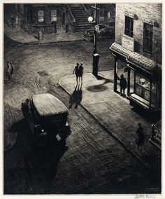 Steven Heller takes a look at the work of Martin Lewis, the printmaker who taught Edward Hopper the craft of etching. Edward Hopper, Norman Rockwell, Rockwell Kent, Nocturne, Le Kraken, Art Blanc, Drypoint Etching, Night Vision, American Art