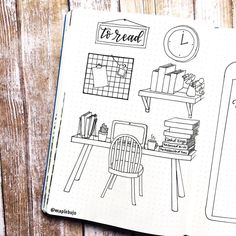 Bullet journal books to read log, desk drawing, office drawing, book drawings.   @maplebujo