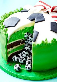 Surprise Piñata Football Cake How-To ~ Slice into this sensational mint chocolate celebration cake and let the hidden sweets pour out for your party guests to enjoy: cake decorating recipes kuchen kindergeburtstag cakes ideas Fondant Cakes, Cupcake Cakes, Baking Cupcakes, Cup Cakes, Cake Cookies, Sport Cakes, Soccer Cakes, Soccer Birthday Cakes, Soccer Ball Cake