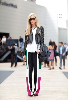 STREET STYLE SPRING 2013: NYFW -  Joanna Hillman kicks off Fashion Week in color-blocked pajama pants paired with a simple white tee and moto jacket by J.Brand. #nyfw