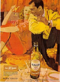 Bernie Fuchs, illustrator. Gallo wine. 60s. Orange capri pants.