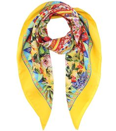 Dolce & Gabbana - Printed silk-twill scarf - Crafted in Italy from lightweight silk twill, this Dolce & Gabbana makes a statement when it comes to colour and pattern. A vibrant floral motif, hand-painted tile-inspired details and cheerful yellow borders come together to ensure big impact. Wear yours with a simple white blouse to let it stand out. seen @ www.mytheresa.com