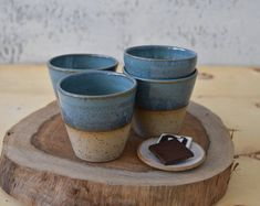 Turquoise Pottery Espresso Cups Set, 2 Stoneware Elegant Espresso cups, Mom Birthday gift, Ceramic coffee mug set - READY TO SHIP Espresso Shot, Espresso Cups Set, Espresso Coffee, Coffee Type, Coffee Pods, Types Of Coffee Beans, Shot Cups, Ground Coffee Beans, Coffee Health Benefits