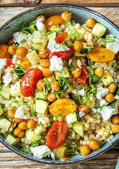 Easy Chickpea-Powered Mediterranean Couscous with Zucchini and Heirloom Grape Tomatoes | More vegetarian recipes on hellofresh.com