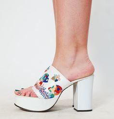 1970s Platform Shoes - 70s Shoes - Rainbow Mushrooms