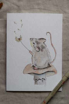 Little Mouse Watercolor Painted Card'Make a wish' by SunsetPeonies