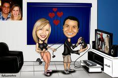 Caricaturas digitais, desenhos animados, ilustração, caricatura realista: Desenho de namorados !!