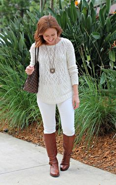 Winning in Winter White - Chunky cable sweater, white jeans, medium brown boots. The long pendant necklace pulls it together. Winter Looks, Winter Style, Average Girl, Stitch Fix Fall, Cable Sweater, Girl Guides, White Denim, Winter White, Autumn Winter Fashion