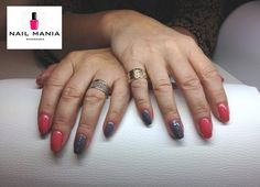 Coral and grey nails with Swarovsky cristals - Mollon Pro colours by Salon Nail Mania Warszawa ul. Sienna 72A lok.09 tel. 603-819-755